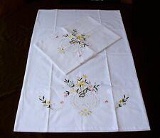 2 PillowCases New White Cotton Sateen Embroidered Pillowshams Standard 300TC G2#