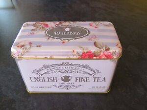 "SHABBY CHIC TIN TEA CADDY ""ENGLISH FINE TEA"" CRAFTING, GIFTS"