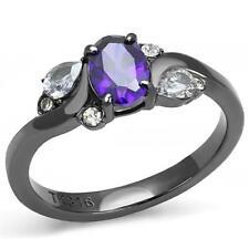 3169 lt black SIMULATED DIAMOND RING STAINLESS STEEL AMETHYST PEAR OVAL PURPLE