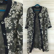 Vintage Giorgio Sant'Angelo sheer black beige floral boho duster jacket L XL