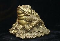 Chinese Fengshui Bronze Brass Wealth Yuanbao Golden Toad Spittor Animal Statue
