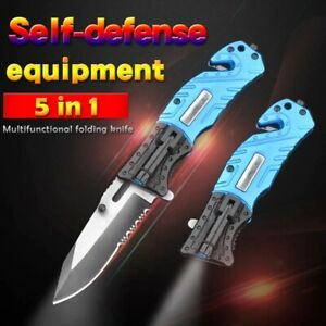 Spring Assisted Open Folding Knife with Flashlight Serrated Clip Point Blade