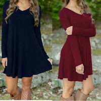 Women Winter V-Neck Casual Loose Long Sleeve Evening Party Short Mini Dress