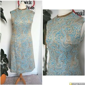 Vintage 60s Gold & Baby Blue Brocade Long Midi Party Cocktail Dress Size 14