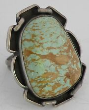 Old Native American, Navajo fine Turquoise, Sterling silver HUGE, massive ring