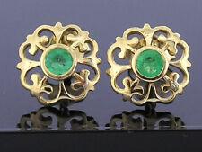 E076 Genuine 9ct Solid Yellow Gold NATURAL Emerald Fleur-de-Lis Stud Earrings