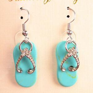 1Pair Tibetan Silver Turquoise slippers Pendant Bead Earring M73540