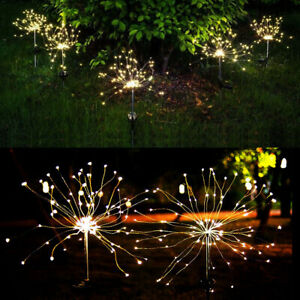 150/90 LED Solar Firework Starburst Lights Outdoor Path Lawn Garden Decor Lamp