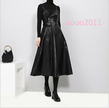 Hot Fashion Ladies PU Leather Suspender Skirt Tunic Swing Slim Punk A-Line Dress