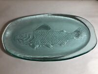 Turquoise BLUE Heavy Wavy Glass FISH PLATTER/Plate 8 x 15