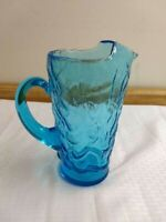 Vintage Seneca Driftwood glass pitcher, blue crinkle