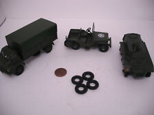 NEW TIRES! DINKY17MM O/D BLACK SQUARE TREAD TIRES.SET OF 4.  POST WAR  ARMY.