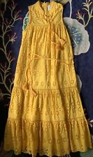 EUC Kate Spade New York PATIO DRESS Yellow Eyelet Lace Tassels COTTON Size SMALL