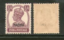India Nabha State ½An KG VI SG 106 / Sc 101 Cat. £7 MNH