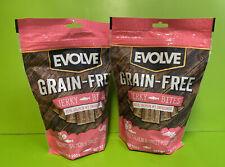 2 @ 12oz Evolve Grain Free Deboned Salmon & Sweet Potato Jerky Bites Dog Treats