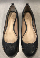 Tory Burch Mini Miller Ballet Flats 7.5 Black Leather Logo Shoes SOLD OUT!