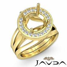 Diamond Engagement Ring 0.4Ct Round Semi Mount 14k Yellow Gold Halo Pave Set