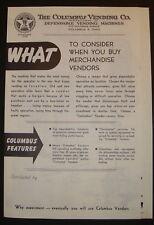Columbus Vending Machine Co. Sales Brochure for Gumball Peanut Gum Machines