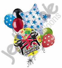7pc Fighting Black Ninja Happy Birthday Balloon Bouquet Decoration Party Fighter