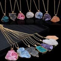 Natural Crystal Quartz Healing Point Chakra Bead Gemstone Necklace Pendant Gift