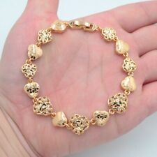 18K Yellow Gold Filled Clear Topaz Women Flower Stamped Charm Link Bracelet