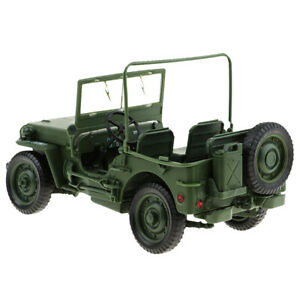 1/18 Diecast Metal Willys WWII Jeep SUV Car Military Vehicle Collectibles