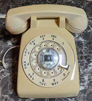 Western Bell Electric Tan Cream Rotary Dial Desk Phone 500DM Vintage 1983