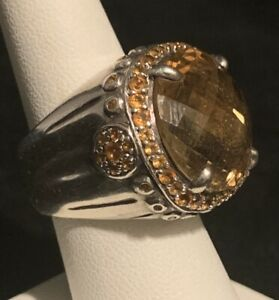 John Hardy Citrine Sterling Ring Size 7 Silver Big 20 Carat Citrine Great Design