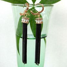 Cylindrical Black Chain 18K GP Crystal Hoop Earrings BH1336