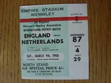 09/03/1968 Ticket: Hockey - England Women v Holland Women [At Wembley] (Folded)