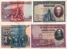 SPAIN! RARE BEAUTIFUL HISTORIC MULTICOLOR 1928 BANKNOTES! XLNT CRISP VF-XF COND!
