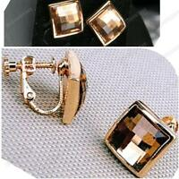 CLIP ON screw EARRINGS SQUARE crystal FACETED GLASS champagne RETRO CLIPS gold p