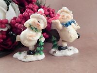 Snowman Bobble Figurines 2 White Hand Painted Resin Playful Christmas Snowmen