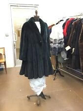 FENDI RICH HUNTER GREEN SHEARED MINK KNEE LENGTH COAT HUGE SWING 3 TIERED NEW