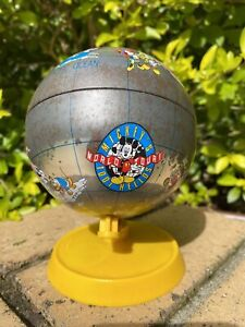 Rare Vintage Disney Mickey's 1001 Hellos Word Tour World Globe Tin Money Box