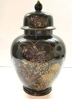 """Large Vintage Japanese Ginger Jar Black Floral Gold Hand Painted 10.5"""" x 6"""""""