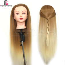 """24"""" Salon Long Hair Training Head Hairdressing Styling Mannequin Doll Brown Gold"""