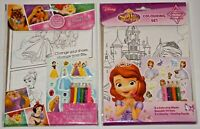 Sofia the First Colouring Set and Disney Princess Colouring Set - Combo - New