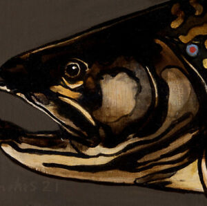 TROUT : ORIGINAL OIL PAINTING : Lure Fly Fishing Game Fish Art by David Andrews