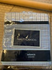"NEW Nautica Kids ""William"" Valance Blue White Plaid 100% Cotton 56 x 13.5"""