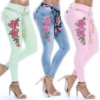 Plus Size Womens Flower Skinny Jeggings Denim Jeans High Waist Stretch Trousers