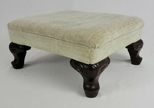 Antique Ottoman Footstool Hassock Mahogany Upholstered Chippendale French