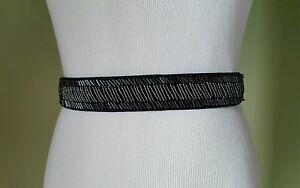 Style & Co black beaded waist stretch belt size M/L