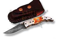 HANDMADE Damascus steel blade POCKET,FOLDING KNIFE,TORCH BONE HANDLE