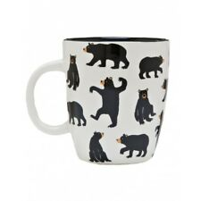 Hatley Ceramic BLACK BEARS ON NATURAL Coffee Mug or Tea Cup