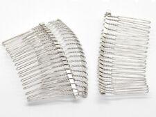 Metal Hair Combs 7.8cm Silver Effect Beadable Bridal Prom Wedding HairJ17122XC