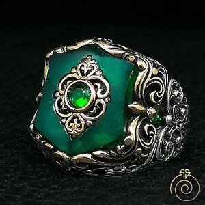 Emerald Men's Shield Ring Green Quartz Imperial Heraldic Symbol Signet Jewelry