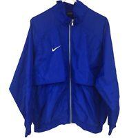 Vintage Nike Team Mens L Large Blue Full Zip Jacket Adult Swoosh Windbreaker 90s