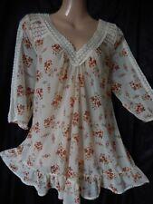 Vintage TOPSHOP 60s 70's Tunic Top Blouse Chiffon Crochet Lace Floral 10 38 US 6