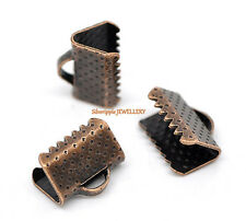 20 x TEXTURED END CAPS CLAMPS  10mm for KUMIHIMO & RIBBON   COPPER TONE